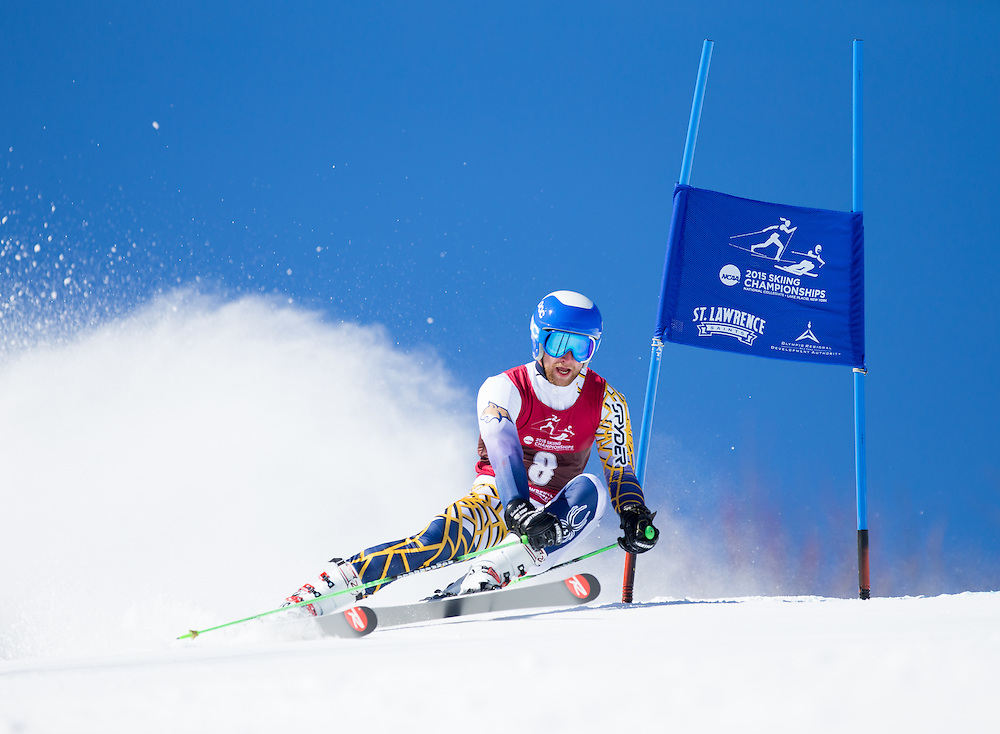 David Neuhauser of Montana State University, skis during the first run of the Men's Giant Slalom at the NCAA Division I Skiing Championships on March 12, 2015 in Wilmington, NY. (Dustin Satloff/Colby College Athletics)