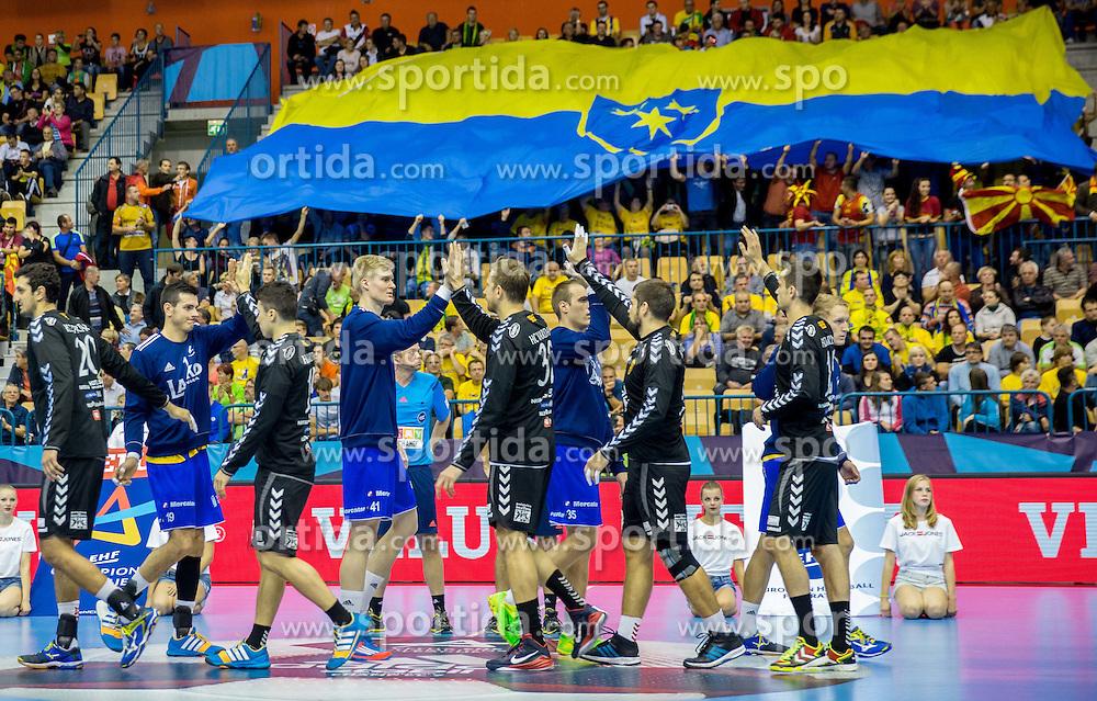 Players during handball match between RK Celje Pivovarna Lasko and HC Vardar Skopje (MKD) in 1st Round of Group C of EHF Champions League 2014/15, on September 27, 2014 in Arena Zlatorog, Celje, Slovenia. Photo by Vid Ponikvar / Sportida.com