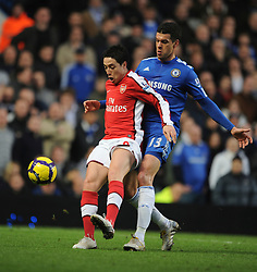 LONDON, ENGLAND - Sunday, February 7, 2010: Chelsea's Michael Ballack and Arsenal's Samir Nasri during the Premiership match at Stamford Bridge. (Photo by Chris Brunskill/Propaganda)
