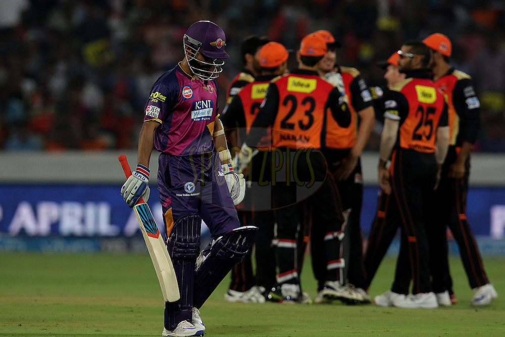 Ajinkya Rahane of Rising Pune Supergiants walks after he gets out  during match 22 of the Vivo IPL 2016 (Indian Premier League ) between the Sunrisers Hyderabad and the Rising Pune Supergiants held at the Rajiv Gandhi Intl. Cricket Stadium, Hyderabad on the 26th April 2016<br /> <br /> Photo by Rahul Gulati / IPL/ SPORTZPICS