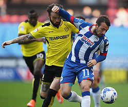 John Brayford of Burton Albion (L) and Adam Le Fondre of Wigan Athletic in action - Mandatory by-line: Jack Phillips/JMP - 15/10/2016 - FOOTBALL - DW Stadium - Wigan, England - Wigan Athletic v Burton Albion - EFL Championship