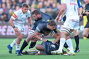 Newcastle Falcons Number 8 Nili Latu (8) protects the ball  during the Aviva Premiership match between Newcastle Falcons and Leicester Tigers at Kingston Park, Newcastle, United Kingdom on 29 October 2017. Photo by Simon Davies.