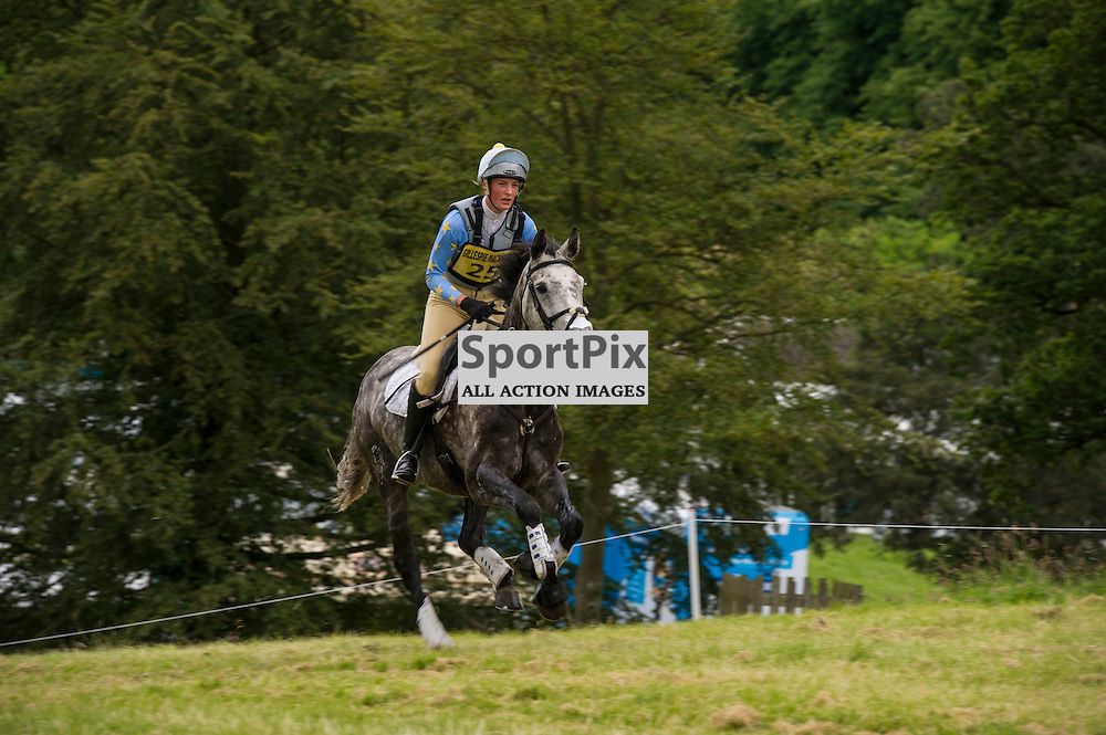 Day two of the annual Hopetoun House Horse Trails saw a number of visitors prepared for all weathers and all type of equestrian events. Rosie Pindar on Wings climbs the hill with three to go in the Cross Country. Ger Harley | SportPix.Org.uk