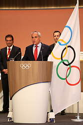 LIMA, Sept. 16, 2017  New International Olympic Committee (IOC) member and International Equestrian President Ingmar De Vos (C) takes his oath during the 131st IOC session in Lima, Peru, on Sept. 15, 2017. The 131st IOC session concluded on Friday. (Credit Image: © Li Ming/Xinhua via ZUMA Wire)