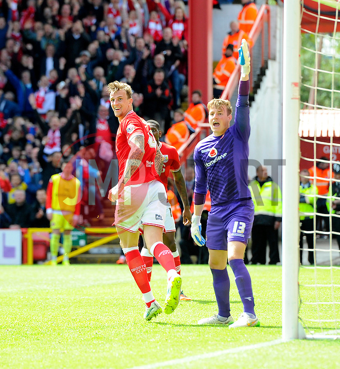 Bristol City's Aden Flint celebrates his second goal  - Photo mandatory by-line: Joe Meredith/JMP - Mobile: 07966 386802 - 03/05/2015 - SPORT - Football - Bristol - Ashton Gate - Bristol City v Walsall - Sky Bet League One