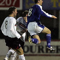 St Johnstone v Clyde..27.11.04<br />Paul Sheerin scores his goal<br /><br />Picture by Graeme Hart.<br />Copyright Perthshire Picture Agency<br />Tel: 01738 623350  Mobile: 07990 594431