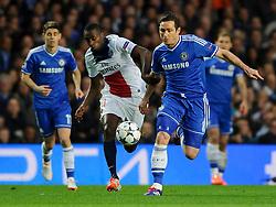 Chelsea Midfielder Frank Lampard (ENG) is challenged by PSG Midfielder Blaise Matuidi (FRA) - Photo mandatory by-line: Rogan Thomson/JMP - 07966 386802 - 08/04/2014 - SPORT - FOOTBALL - Stamford Bridge, London - Chelsea v Paris Saint-Germain - UEFA Champions League Quarter-Final Second Leg.