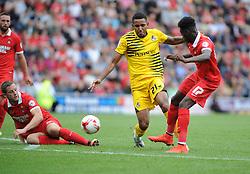 Cristian Montano of Bristol Rovers challenges Connor Essam of Leyton Orient and Blair Turgott of Leyton Orient - Mandatory byline: Neil Brookman/JMP - 07966386802 - 29/08/2015 - FOOTBALL - Matchroom Stadium -Leyton,England - Leyton Orient v Bristol Rovers - Sky Bet League Two