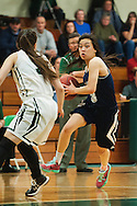 Burlington's Hein Thach (3) dribbles the ball down the court during the girls basketball game between the Burlington Sea Horses and the Rice Green knights at Rice Memorial high school on Thursday night February 18, 2016 in South Burlington. (BRIAN JENKINS/for the FREE PRESS)
