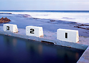 3,2,1 Merewether Baths, Merewether Beach,Newcastle, Australia. Starting Blocks on seaside pool.