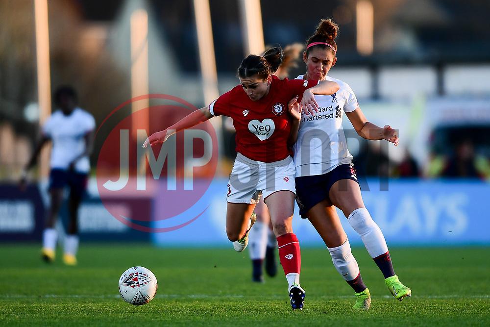 Megan Wynne of Bristol City Women is challenged by Jade Bailey of Liverpool Women - Mandatory by-line: Ryan Hiscott/JMP - 19/01/2020 - FOOTBALL - Stoke Gifford Stadium - Bristol, England - Bristol City Women v Liverpool Women - Barclays FA Women's Super League