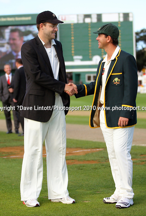 NZ captain Daniel Vettori shakes hands with Australian captain Ricky Ponting before the start of the first day.<br /> 1st cricket test match - New Zealand Black Caps v Australia, day one at the Basin Reserve, Wellington.Friday, 19 March 2010. Photo: Dave Lintott/PHOTOSPORT