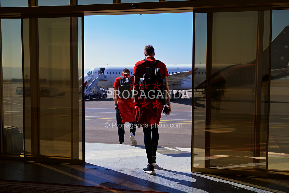TBILSI, GEORGIA - Saturday, October 7, 2017: Wales' goalkeeper Wayne Hennessey at the Shota Rustaveli Tbilisi International Airport as the squad depart after of the 2018 FIFA World Cup Qualifying Group D match against Georgia. (Pic by David Rawcliffe/Propaganda)