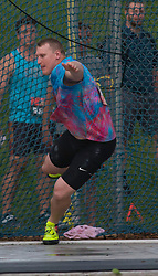 (Ottawa, Canada---07 July 2017) Canadian Olympian Tim Nedow throwing to a silver medal in the discus at the 2017 Canadian Track and Field Championships. (Photo by Sean W Burges / Mundo Sport Images).