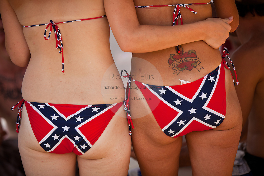 Young women wearing confederate bikini's at the annual Summer Redneck Games Dublin, GA.