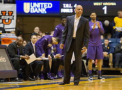 Feb 13, 2016; Morgantown, WV, USA; TCU Horned Frogs head coach Trent Johnson yells from the bench during the first half against the West Virginia Mountaineers at the WVU Coliseum. Mandatory Credit: Ben Queen-USA TODAY Sports