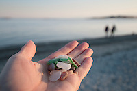 A handful of beach glass collected at Willows Beach, Victoria, BC