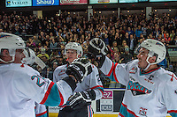 KELOWNA, CANADA - APRIL 4: Joe Gatenby #28 and Rodney Southam #17 of Kelowna Rockets high five after winning round 1 of the WHL playsoffs in game 7 against the Kamloops Blazers on April 4, 2016 at Prospera Place in Kelowna, British Columbia, Canada.  (Photo by Marissa Baecker/Shoot the Breeze)  *** Local Caption *** Joe Gatenby; Rodney Southam;