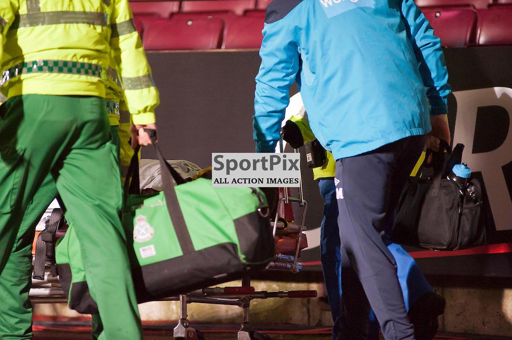 Hearts v Auchinleck Talbot, Tynecastle Stadium, Edinburgh, Craig Barr is wheeled away on a trolley