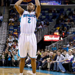 December 17, 2010; New Orleans, LA, USA; New Orleans Hornets guard Marcus Thornton (5) shoots against the Utah Jazz during the second half at the New Orleans Arena.  The Hornets defeated the Jazz 100-71. Mandatory Credit: Derick E. Hingle