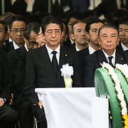 NAGASAKI, JAPAN - AUGUST 9 : Japanese Prime Minister Shinzo Abe attends 72nd Anniversary Ceremony for the atomic bomb victims in front of the Nagasaki Peace Park in Nagasaki, southern Japan on Wednesday, August 9, 2017. Japan marked the 72nd anniversary of the atomic bombing on Nagasaki. (Photo: Richard Atrero de Guzman/AFLO)