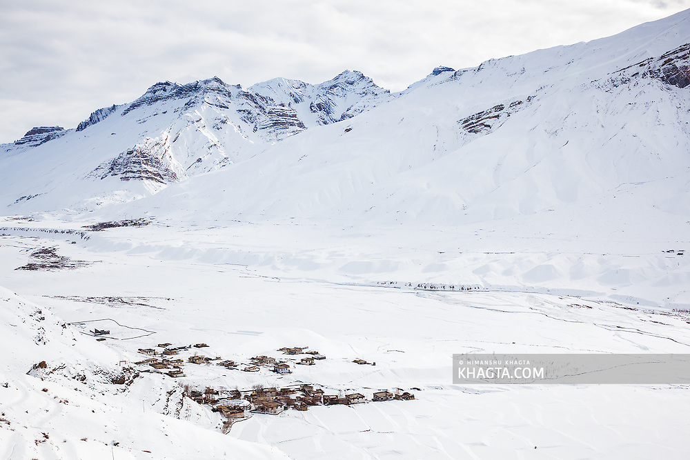 The Spiti villages of Kee and Rangrik covered in a thick sheet of snow.