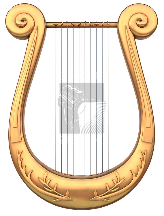 A stringed lyre musical instrument on a white background