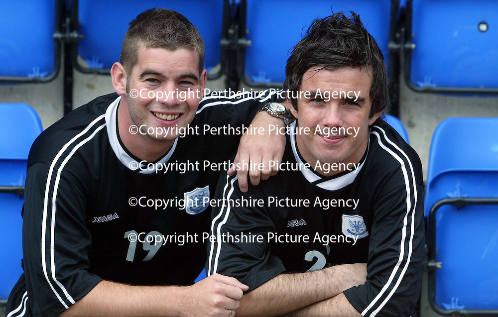 St Johnstone FC new signing Stephen McConalogue (right) with Peter MacDonald who has signed a new deal today<br /><br />see story by Gordon Bannerman Tel: 01738 553978 or 07729 865788<br />Picture by Graeme Hart.<br />Copyright Perthshire Picture Agency<br />Tel: 01738 623350  Mobile: 07990 594431