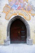 Austria, Tyrol, Schwaz City hall Decorated wooden door