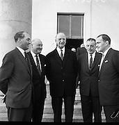 President Eamon de Valera receives new cabinet members at Áras an Uachtarain..21.04.1965
