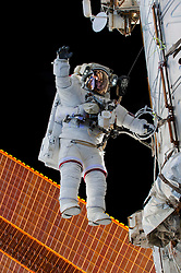 EARTH Aboard the International Space Station -- 21 Dec 2015 -- NASA astronaut Scott Kelly is seen floating during a spacewalk on 21 Dec 2015. NASA astronauts Scott Kelly and Tim Kopra released brake handles on crew equipment carts on either side of the space station's mobile transporter rail car so it could be latched in place ahead of Wednesday's docking of a Russian cargo resupply spacecraft. Kelly and Kopra also tackled several get-ahead tasks during their three hour, 16 minute spacewalk. EXPA Pictures © 2016, PhotoCredit: EXPA/ Photoshot/ Tim Kopra/Atlas Photo Archive/NA<br />