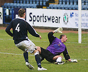 Clyde's David Hutton watches Kevin McDonald's shot enter the net for Dundee's second goal during the IRN BRU Scottish League First Division match at Dens Park<br /> <br /> ,<br /> Monifieth,<br /> <br /> 0776 5252616
