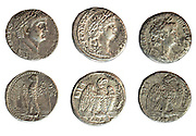 Nero 54-68 CE Silver Tetradrachm coins Head of Nero and Eagle. On White Background