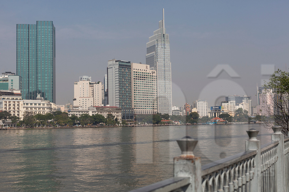 Renaissance Hotel and Vietcombank Tower seen from across the Saigon River, Ho Chi Minh City, Vietnam, Southeast Asia
