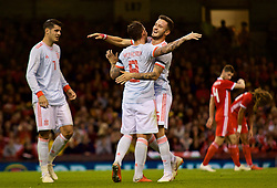 CARDIFF, WALES - Thursday, October 11, 2018: Spain's Paco Alcácer celebrates scoring the third goal during the International Friendly match between Wales and Spain at the Principality Stadium. (Pic by Lewis Mitchell/Propaganda)
