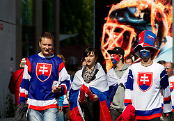 Fans of Slovakia coming to the ice-hockey match between Slovenia and Latvia of Group G in Relegation Round of IIHF 2011 World Championship Slovakia, on May 5, 2011 in Orange Arena, Bratislava, Slovakia. (Photo By Vid Ponikvar / Sportida.com)
