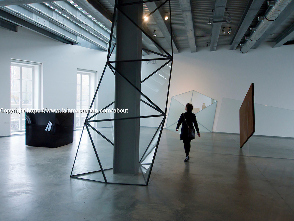 Modern art sculptures by Karel Marian at Kampa Museum in Mala Strana in Prague in Czech Republic