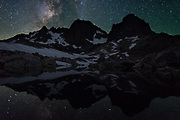 Night shot of Banner and Ritter peaks at Nydiver Lake in the Ansel Adams Wilderness. High Sierra backpacking trip to Garnet Lake and Nydiver Lake in the Ansel Adams Wilderness out of Devil's Postpile national monument 2017.