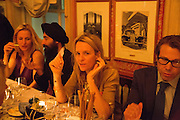 GILLIAN ANDERSON; WARIS; GEORGIA BYNG; SCOTT LYON WALL, Charles Finch and  Jay Jopling host dinner in celebration of Frieze Art Fair at the Birley Group's Harry's Bar. London. 10 October 2012.