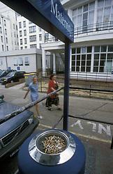 Cigarette butts outside a maternity ward; St, Helier hospital UK