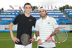 LIVERPOOL, ENGLAND - Thursday, June 16, 2011: Harry Meehan (GBR) and Fernando Gonzalez (CHI) during day one of the Liverpool International Tennis Tournament at Calderstones Park. (Pic by David Rawcliffe/Propaganda)