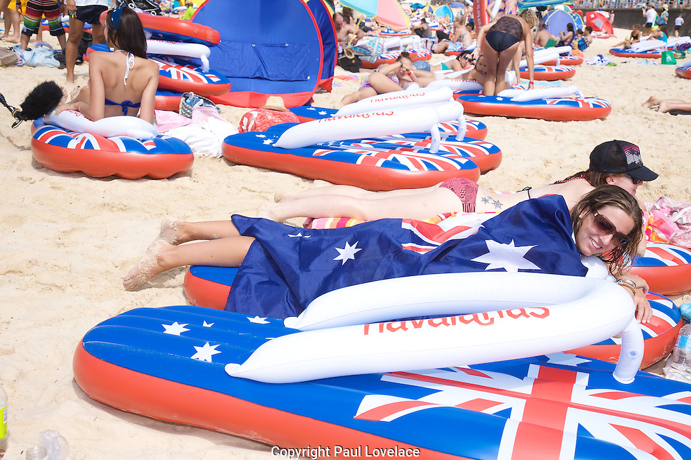 Australia Day at Bondi Beach and the 5th Annual Havaianas Thong Challenge .World Record Attempt..Paul Lovelace Photography 26.01.10 . An instant sale option is available where a price can be agreed on image useage size. Please contact me if this option is preferred.