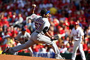17 April 2010: New York Mets starting pitcher Johan Santana (57) releases the pitch toward home plate during Saturday's game against the St. Louis Cardinals at Busch Stadium in St. Louis, Missouri. The Game would go 20 innings, with the Mets winning 2-1.