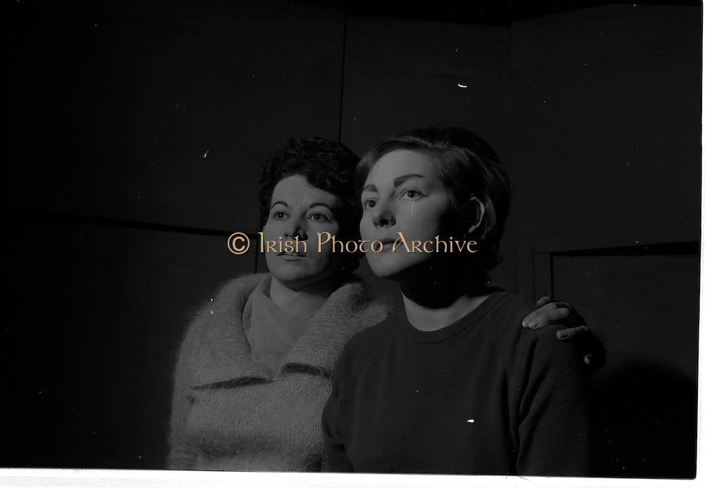 "04/03/1964<br /> 03/04/1964<br /> 04 March 1964<br /> Rehearsal of ""La Fheile Mhicil"" at Damer Hall Theatre, Dublin for Gael Linn. ""La Fheile Mhicil"" Eoghan O Tuairisc's Oireachtas prize-winning play was to be staged from 11th March. Image shows Mairin Cruch and Treasa Ni Dhiorain who play the parts of nun and postulant in the play."