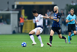 September 18, 2018 - Son Heung-Min of Tottenham Hotspur and Marcelo Brozovic of Inter Milan fight for the ball during the UEFA Champions League Group B match between Inter Milan and Tottenham Hotspur at Stadio San Siro, Milan, Italy on 18 September 2018. Photo by Giuseppe Maffia. (Credit Image: © AFP7 via ZUMA Wire)