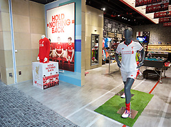 KUALA LUMPUR, MALAYSIA - Wednesday, July 22, 2015: Liverpool shirts on sale at a New Balance store at the Mid Valley Mega Mall on day ten of the club's preseason tour. (Pic by David Rawcliffe/Propaganda)