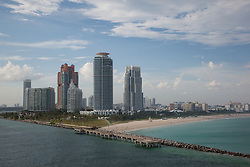 Miami Beach, Florida. Photographed from the deck of the Carnival Imagination cruise ship.