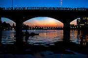 Austinites line Congress Avenue Bridge waiting for the nightly emergence of Mexican Free-tail Bats, Austin, Texas, July 19, 2015. The Ann W. Richards Congress Avenue Bridge houses the world's largest urban population of Mexican Free-tailed Bats.