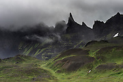 Hraundrangar mountains in Öxnadalur walley, North-Iceland.