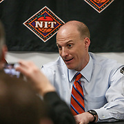 Head Coach John Groce of the Illinois Fighting Illini speaks to the media following to the NIT First Round game at Agganis Arena on March 19, 2014 in Boston, Massachusetts . (Photo by Elan Kawesch)